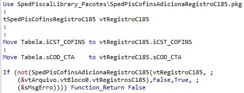 SpedPisCofinsAdicionaRegistroC185