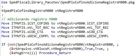 SpedPisCofinsAdicionaRegistroM800