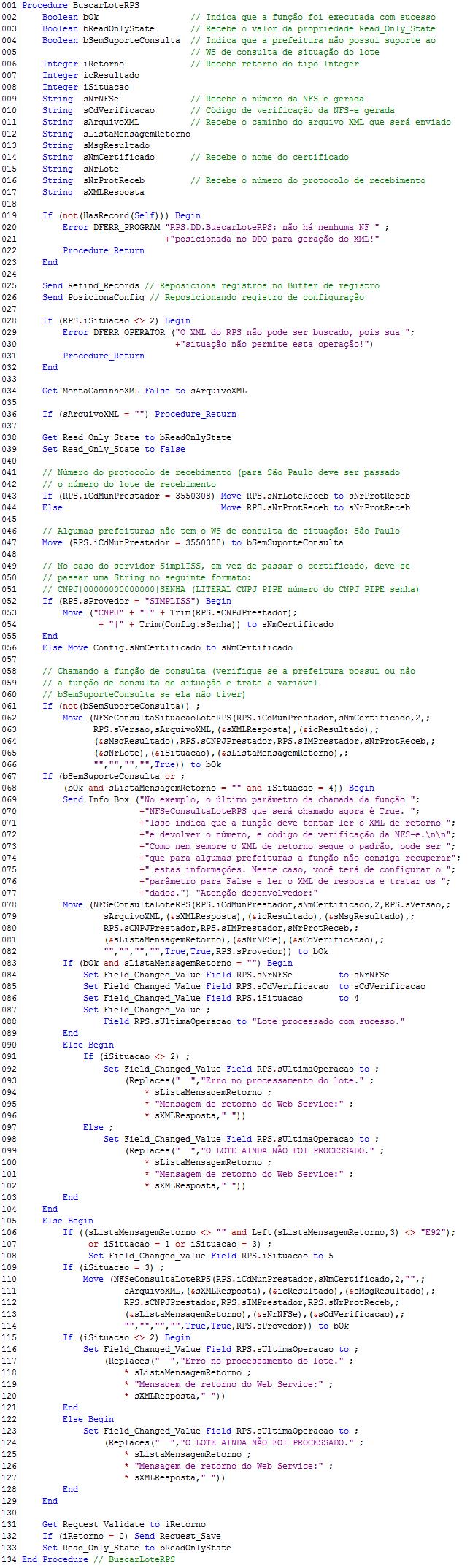 NFSeConsultaLoteRPS - Exemplo