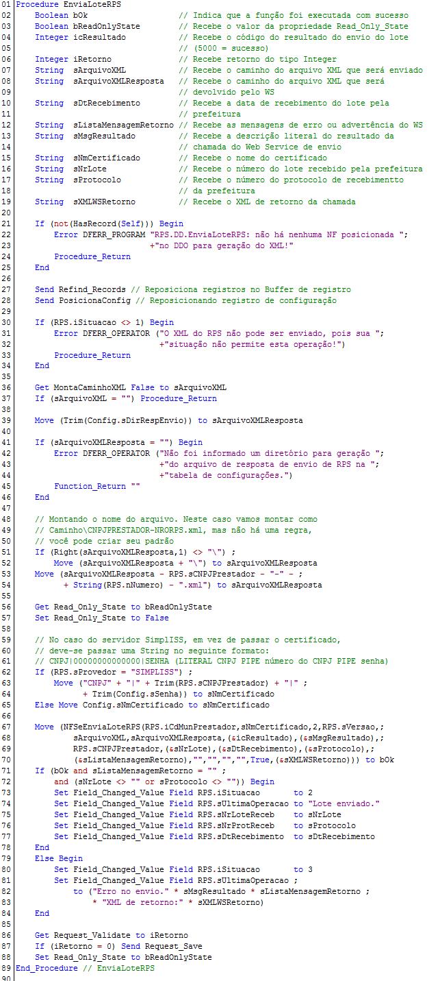 NFSeEnviaLoteRPS - Exemplo