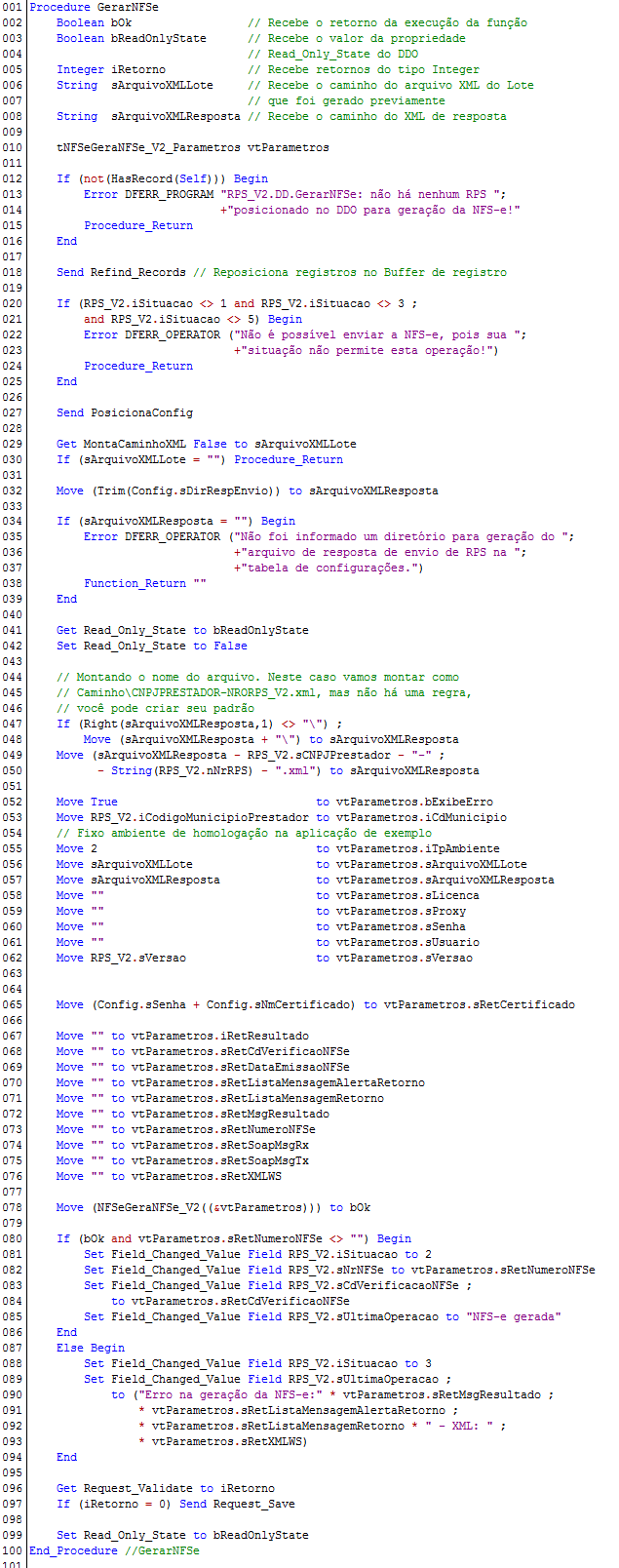 NFSeGeraNFSe_V2 - Exemplo