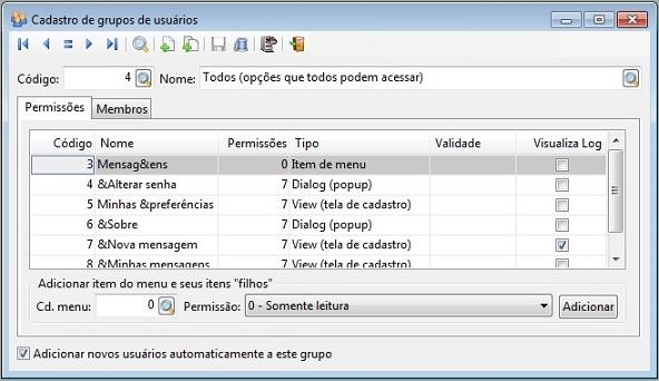 Cadastro de grupos de usuários