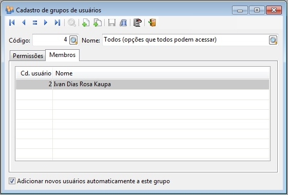 Cadastro de grupos de usuários - Membros