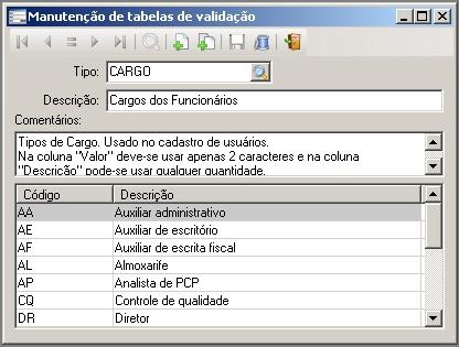 Manutenção de tabelas de validação