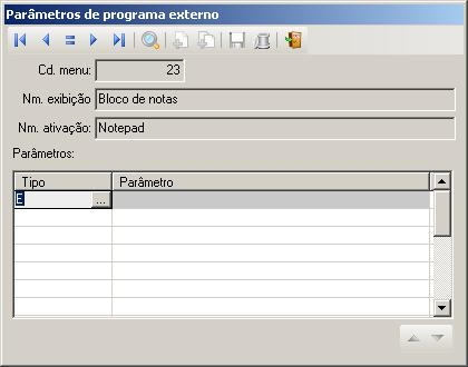 Parâmetros de programa externo