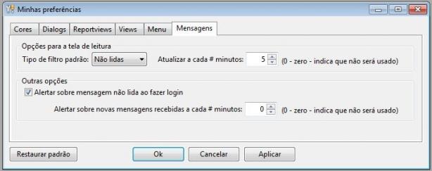 Configurações de mensagens
